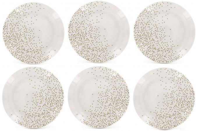 Service de 6 assiettes dessert en porcelaine blanches et or corine vaisse - Vaisselle design pas cher ...