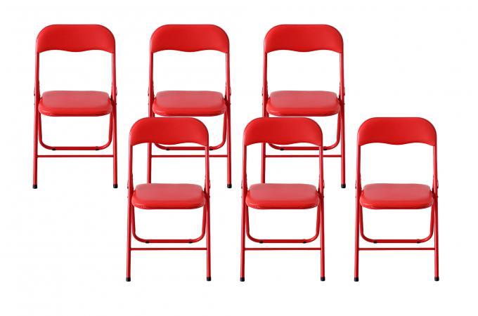 Moderne Lot de 6 Chaises Pliantes Rouge CARLOS - Chaise Pliante Pas Cher TD-38