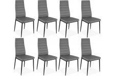 Lot de 8 chaises grises en métal San José - Chaise metal design