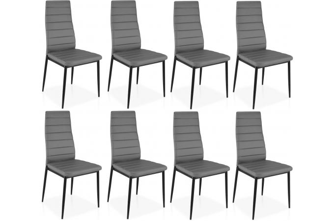 lot de 8 chaises grises en m tal san jos chaise design. Black Bedroom Furniture Sets. Home Design Ideas
