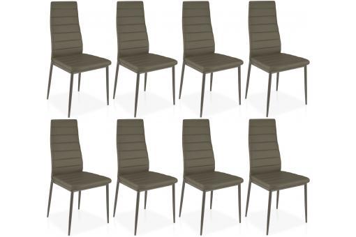 lot de 8 chaises taupe en m tal san jos chaise design pas cher. Black Bedroom Furniture Sets. Home Design Ideas