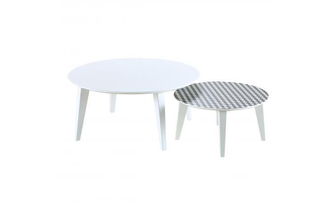 Lot de 2 tables gigognes scandinaves rondes blanc et - Tables gigognes pas cher ...