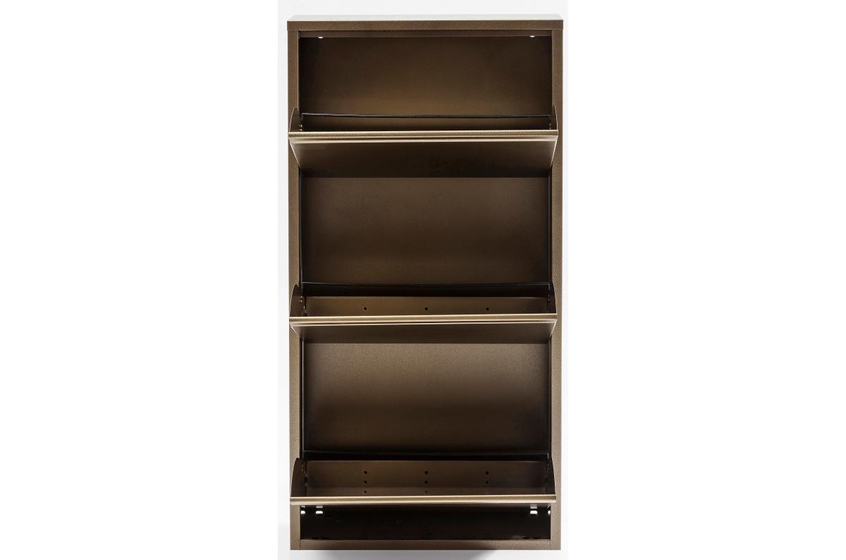 Meuble Dressing Pas Cher meuble à chaussures 3 abattants acier bronze caruso