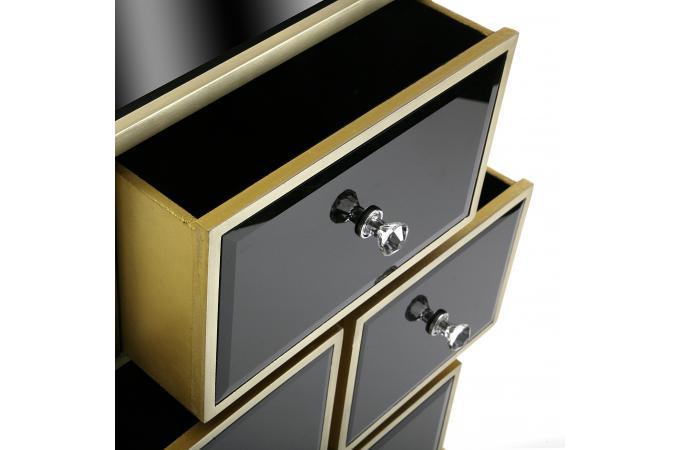 Meuble de rangement noir et dor 4 tiroirs varana meuble - Meuble de rangement noir ...