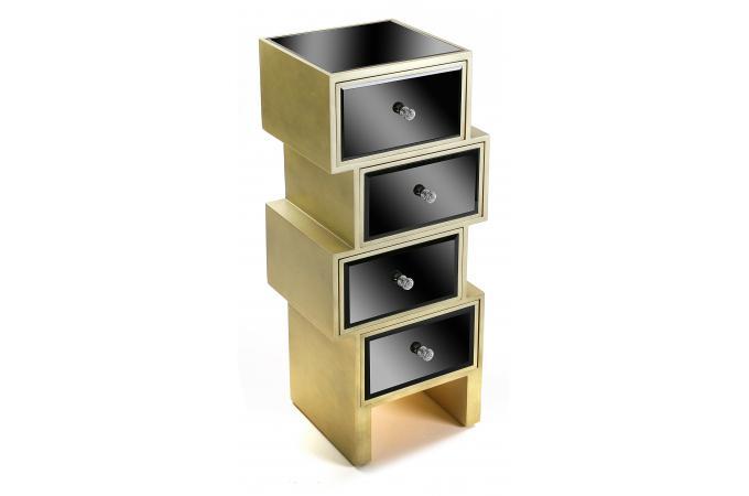 meuble de rangement noir et dor 4 tiroirs varana meuble. Black Bedroom Furniture Sets. Home Design Ideas