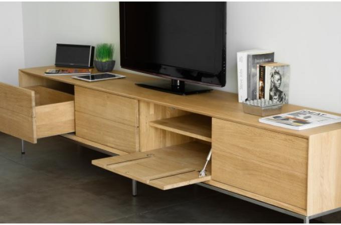 Meuble tv 2 tiroirs 2 portes en ch ne massif copa meuble for Meuble tv design chene