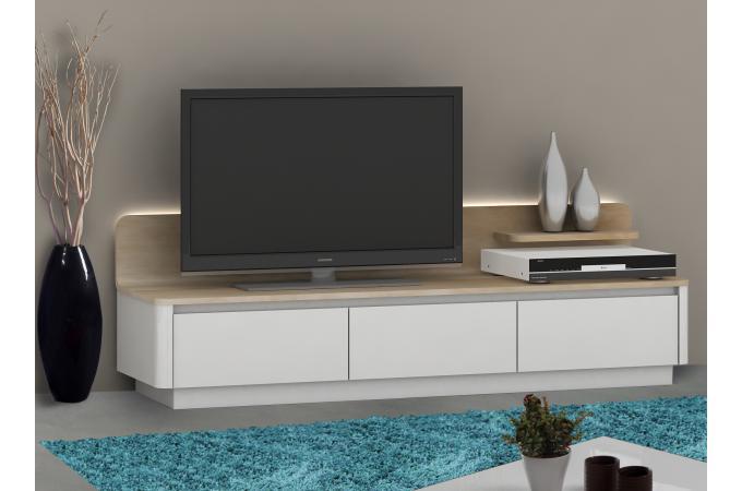 Meuble Tv 3 Tiroirs Avec LED ATLAS - Meuble TV Pas Cher