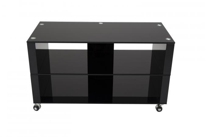 Meuble Tv à Roulettes 90x42cm Verre Noir Chelsea Meuble Tv Pas Cher