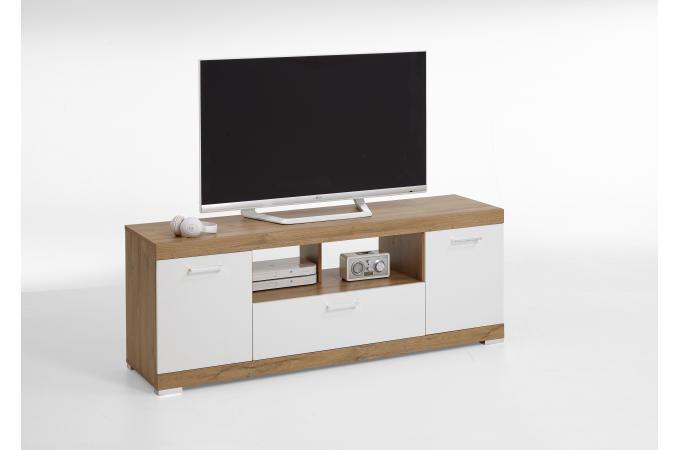 Meuble Tv Blanc 2 Portes 1 Tiroir Gifford Meuble Tv Pas Cher