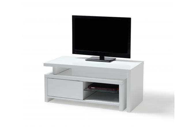 meuble tv blanc caisson amovible blanc glisse meuble tv pas cher. Black Bedroom Furniture Sets. Home Design Ideas