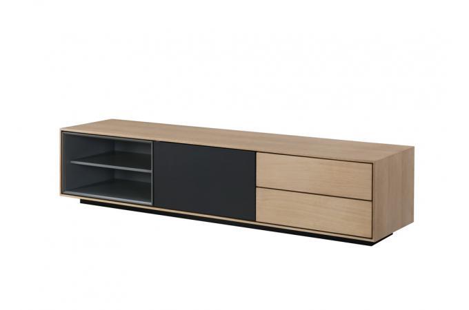 Meuble tv bois noir 2 niches 1 porte 2 tiroirs hourn for Meuble tv bois et noir