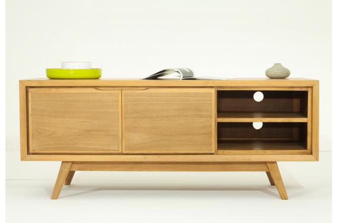 Meuble tv matteo 2 portes en teck massif meuble tv pas cher for Meuble cuisine teck