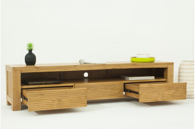 meuble tv matteo 3 tiroirs en teck massif meuble tv pas cher. Black Bedroom Furniture Sets. Home Design Ideas