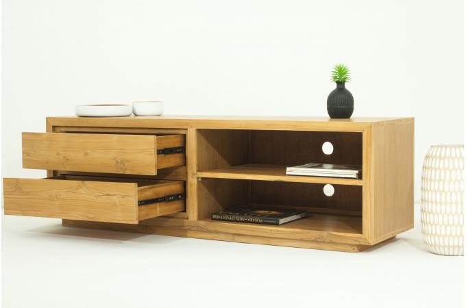 Meuble tv matteo 2 tiroirs et 2 espaces rangement en teck for Meuble tv plus rangement