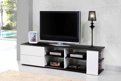 meuble tv noir et blanc galeane meuble tv pas cher. Black Bedroom Furniture Sets. Home Design Ideas