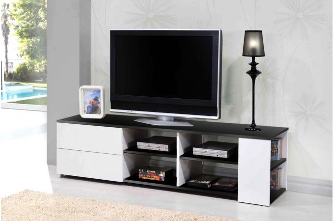 Meuble tv noir et blanc galeane meuble tv pas cher for Meuble tv pas cher noir