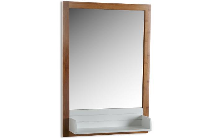 Miroir avec plateau verre et bois 65x45 look miroir for Miroir bois pas cher