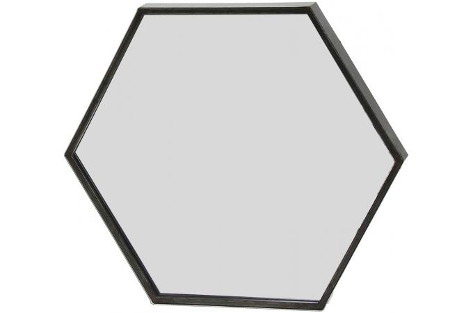 Miroir hexagonal pomax en m tal noir 30 5x3 5x26 5 zenwall for Miroir carre noir