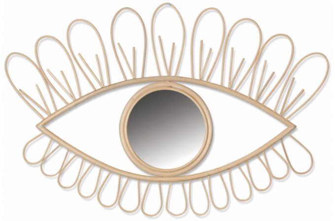 miroir il en rotin beige rafy miroir rond et ovale pas cher. Black Bedroom Furniture Sets. Home Design Ideas