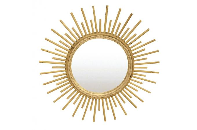 miroir soleil cadre en rotin naturel d55cm napp miroir. Black Bedroom Furniture Sets. Home Design Ideas