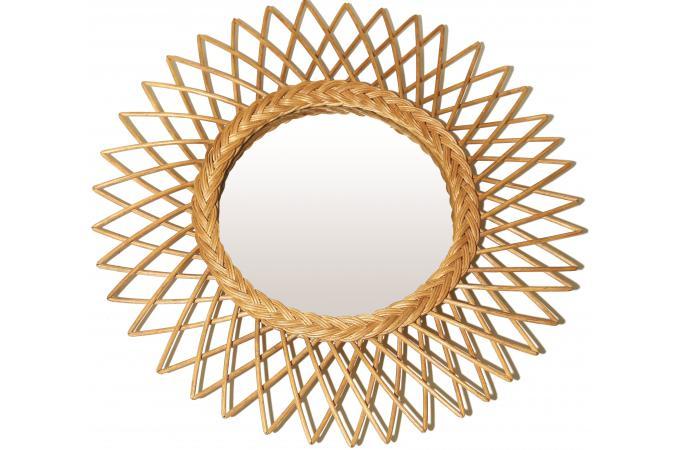 miroir soleil cadre en rotin naturel d60cm vera miroir. Black Bedroom Furniture Sets. Home Design Ideas