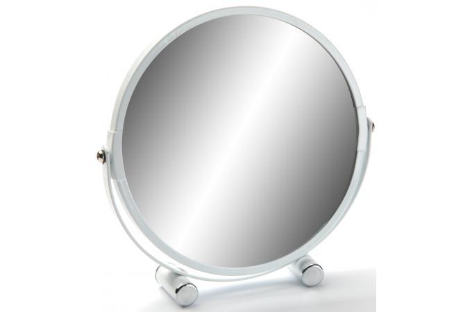 Miroir sur pied rond grossissant x 5 blanc mex for Petit miroir rond sur pied