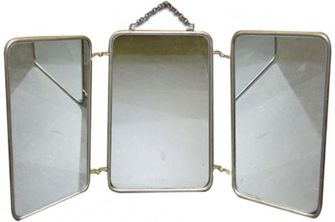 Miroir triptyque style vintage 60x32 barbire miroir for Miroir triptyque