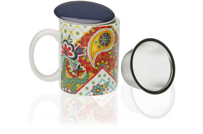 mug th avec couvercle et infuseur multicolore giardino mug verre pas cher. Black Bedroom Furniture Sets. Home Design Ideas