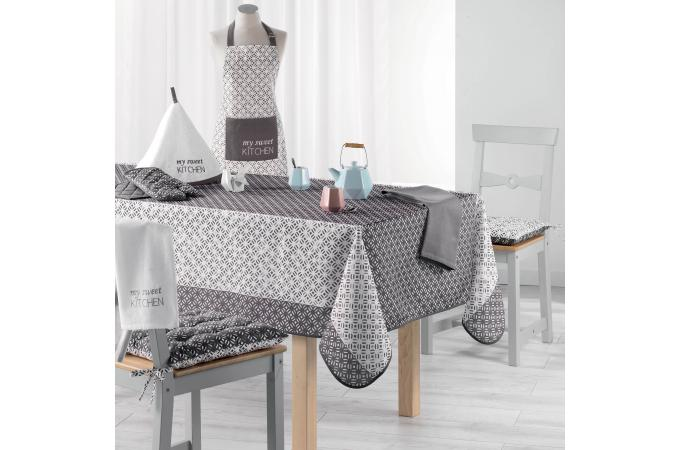 nappe rectangulaire grise impression tachet blanc en coton 150x200 laudina nappe serviette. Black Bedroom Furniture Sets. Home Design Ideas