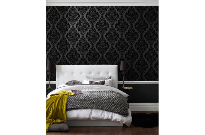 papier peint baroque vintage noir papier peint ville pas cher. Black Bedroom Furniture Sets. Home Design Ideas
