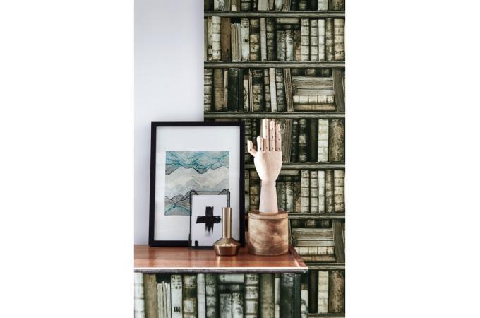 Papier peint biblioth que antique papier peint trompe l for Trompe l oeil bibliotheque papier peint