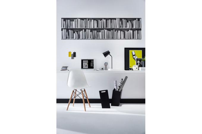 papier peint biblioth que tram e noire blanche papier peint trompe l 39 oeil pas cher. Black Bedroom Furniture Sets. Home Design Ideas