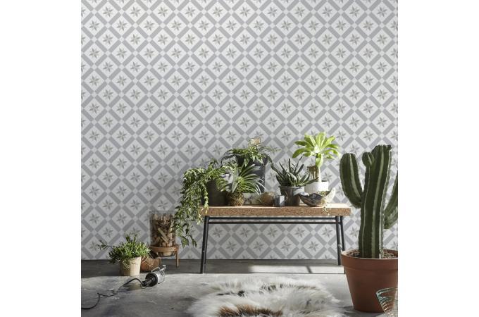 papier peint r tro carreaux de ciment gris auguste. Black Bedroom Furniture Sets. Home Design Ideas