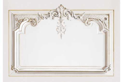 papier peint style tete de lit trompe l 39 il impression boiserie hausmannienne 160cm ecru. Black Bedroom Furniture Sets. Home Design Ideas