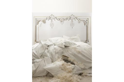 papier peint style tete de lit trompe l 39 il impression boiserie hausmannienne 200cm ecru. Black Bedroom Furniture Sets. Home Design Ideas