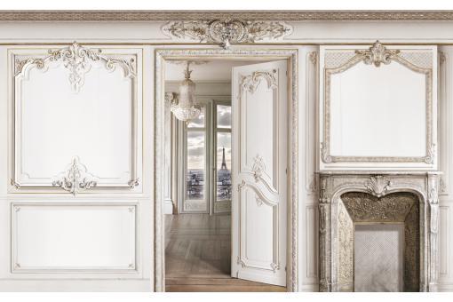 papier peint style trompe l 39 il impression boiserie. Black Bedroom Furniture Sets. Home Design Ideas