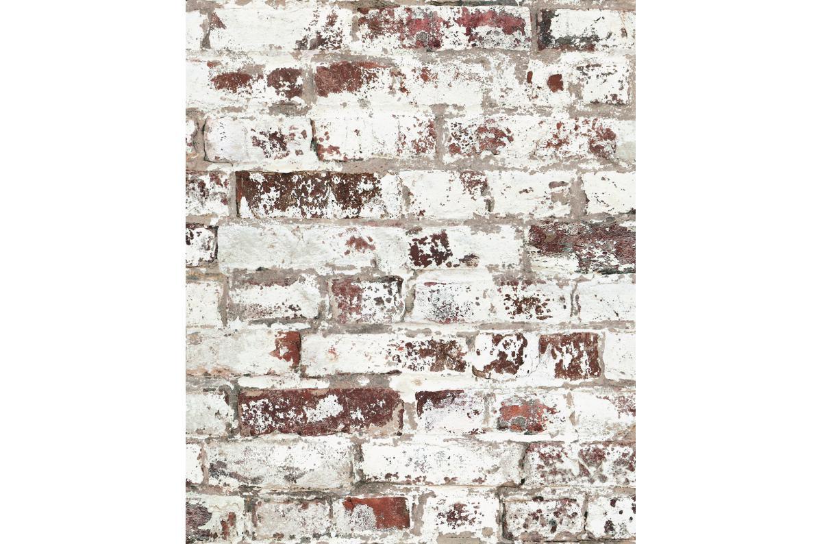 Mur En Brique Rouge papier peint style trompe-l'?il mur de briques usées rouge venerande plus  d'infos