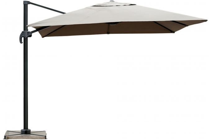 Parasol d port taupe en toile allan parasol pas cher for Toile pour parasol deporte