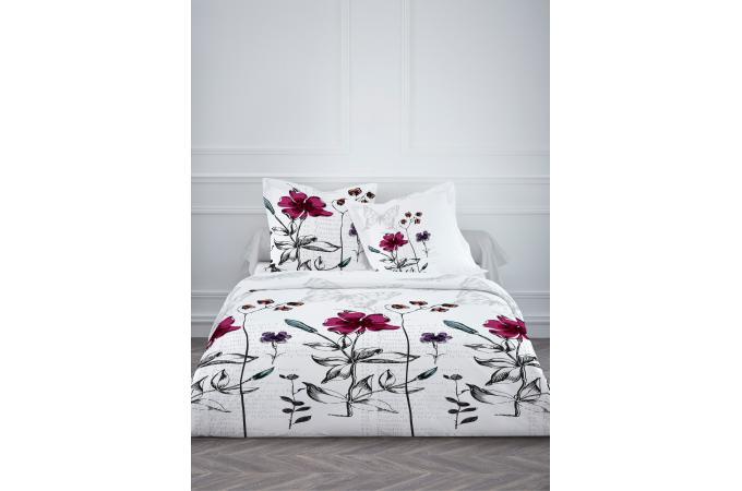 parure housse de couette taie d 39 oreiller blanc fleurs 100 coton lit 140x190 elona housse de. Black Bedroom Furniture Sets. Home Design Ideas