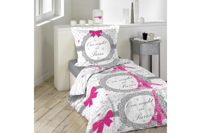 parure housse de couette taie doreiller imprim romantique rose et gris 100 - Housse De Couette Romantique Rose