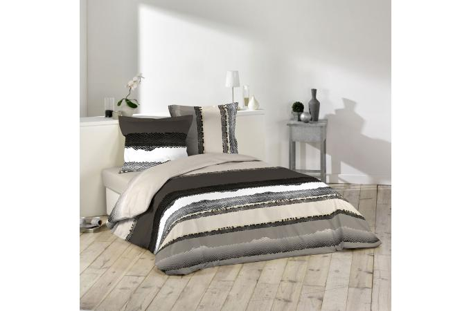 parure housse de couette 2 taies d 39 oreiller marron et noir impression ethnique 100 coton lit. Black Bedroom Furniture Sets. Home Design Ideas