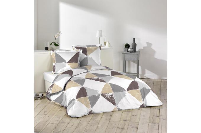 parure housse de couette 2 taies d 39 oreiller forme g om trique multicolore imprim e 100 coton. Black Bedroom Furniture Sets. Home Design Ideas