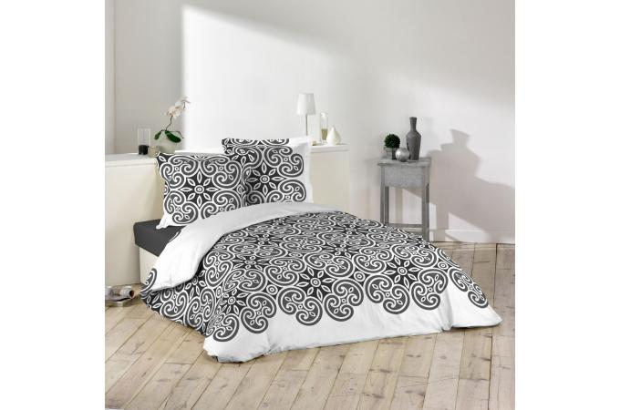 parure housse de couette 2 taies d 39 oreiller blanc impression g om trique noir 100 coton lit. Black Bedroom Furniture Sets. Home Design Ideas
