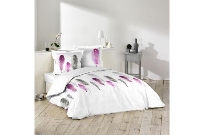 parure housse de couette 2 taies d 39 oreiller blanc imprim plumes violet et gris 100 coton lit. Black Bedroom Furniture Sets. Home Design Ideas