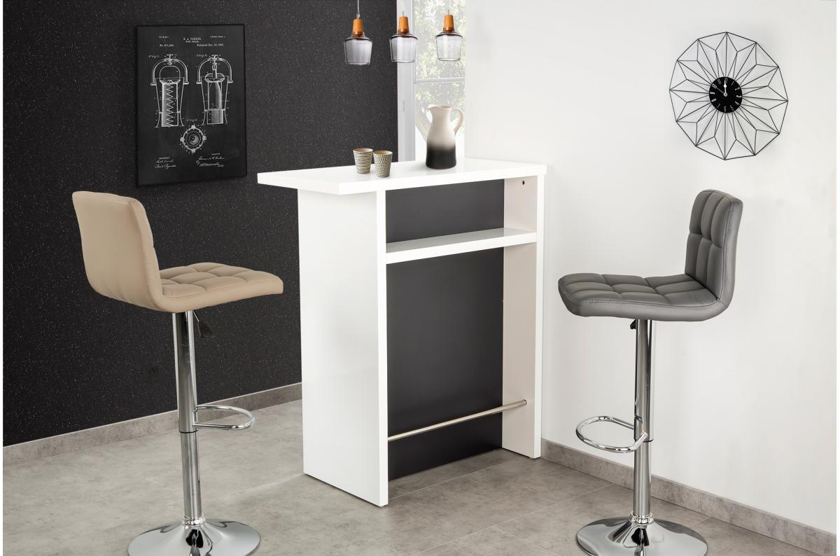 Objet Deco Laque Blanc petit bar laqué blanc et gris glass - table de bar pas cher
