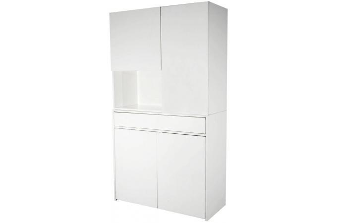 Placard laqu blanc 1 porte droite mato console pas cher for Placard cuisine blanc laque