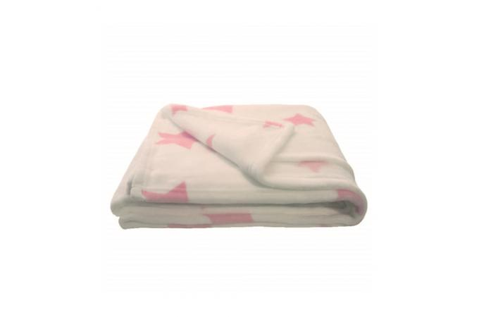 plaid blanc imprim s etoiles rose 150x120 asterea plaid pas cher. Black Bedroom Furniture Sets. Home Design Ideas