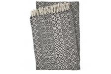 Plaid en Coton Noir Beige TANGER - Plaid design