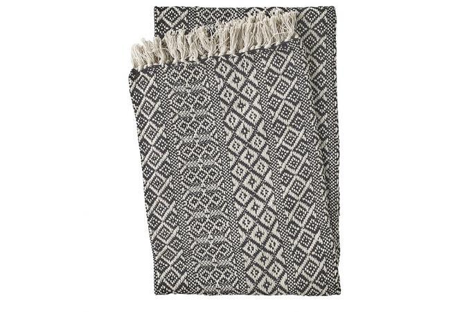 plaid en coton noir beige tanger plaid pas cher. Black Bedroom Furniture Sets. Home Design Ideas