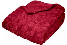 Plaid Imitation Fourrure Impression Coeurs Rouge 127x152 ASTALEA - Plaid design